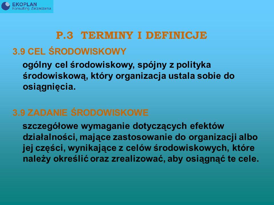 P.3 TERMINY I DEFINICJE 3.9 CEL ŚRODOWISKOWY