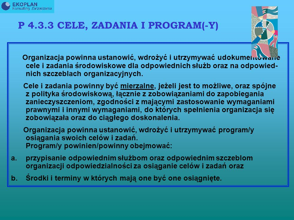 P 4.3.3 CELE, ZADANIA I PROGRAM(-Y)
