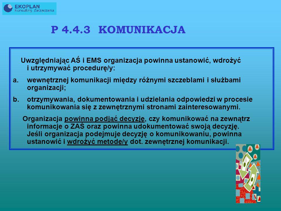 P 4.4.3 KOMUNIKACJA Uwzględniając AŚ i EMS organizacja powinna ustanowić, wdrożyć i utrzymywać procedurę/y: