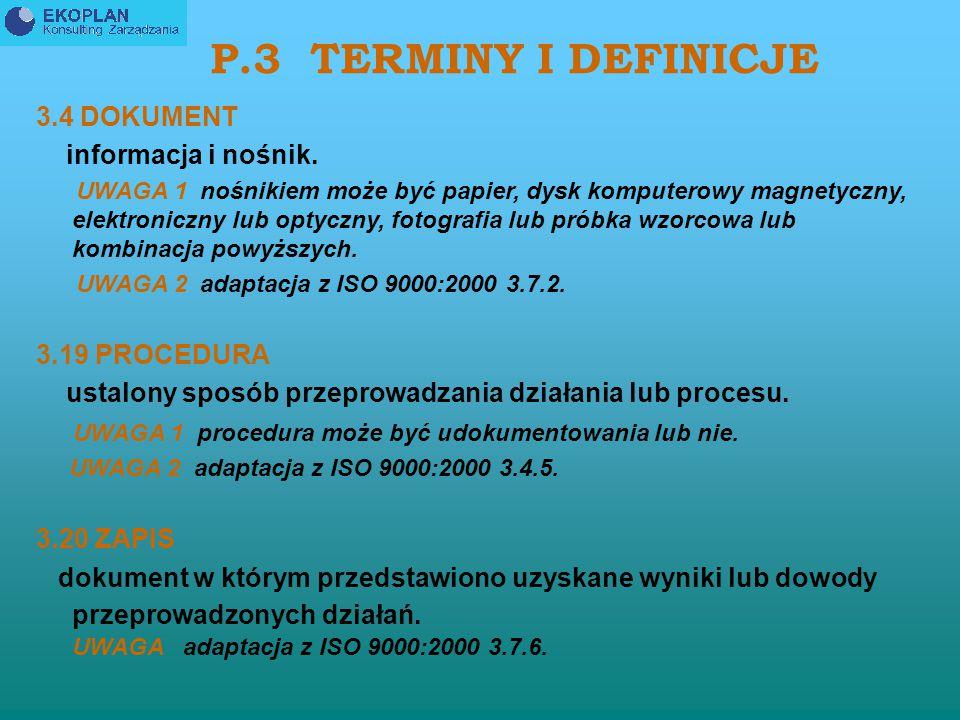 P.3 TERMINY I DEFINICJE 3.4 DOKUMENT informacja i nośnik.