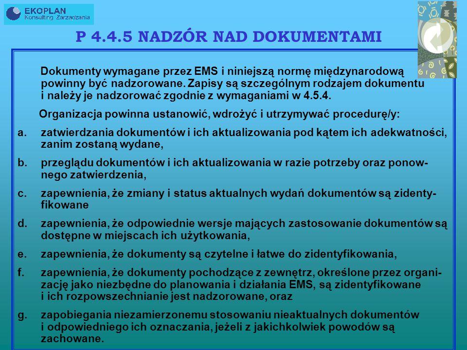 P 4.4.5 NADZÓR NAD DOKUMENTAMI