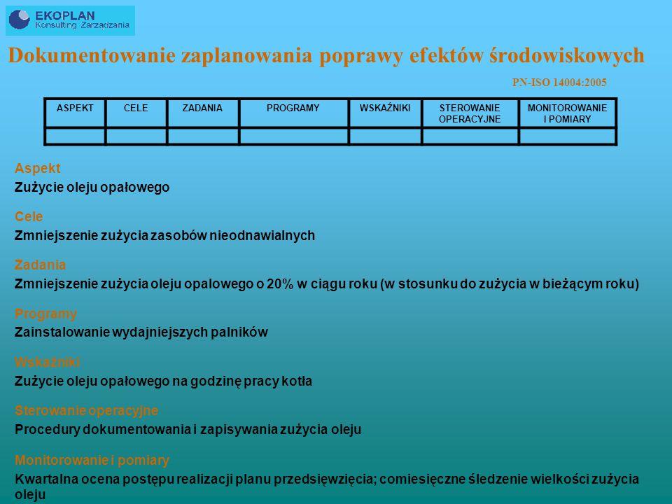 Dokumentowanie zaplanowania poprawy efektów środowiskowych
