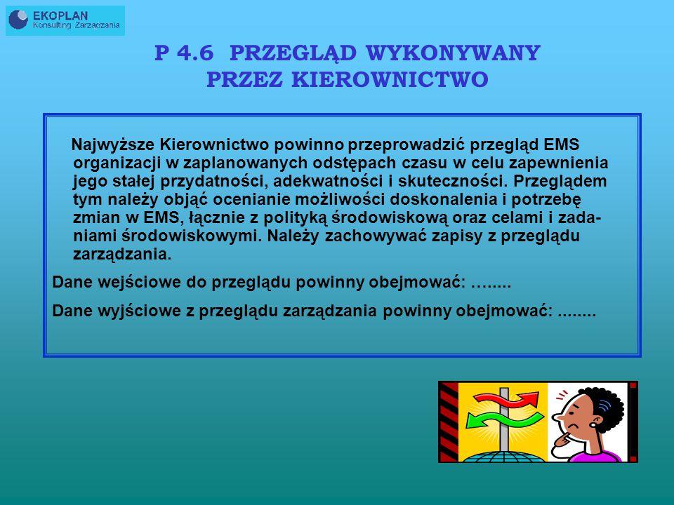 P 4.6 PRZEGLĄD WYKONYWANY PRZEZ KIEROWNICTWO