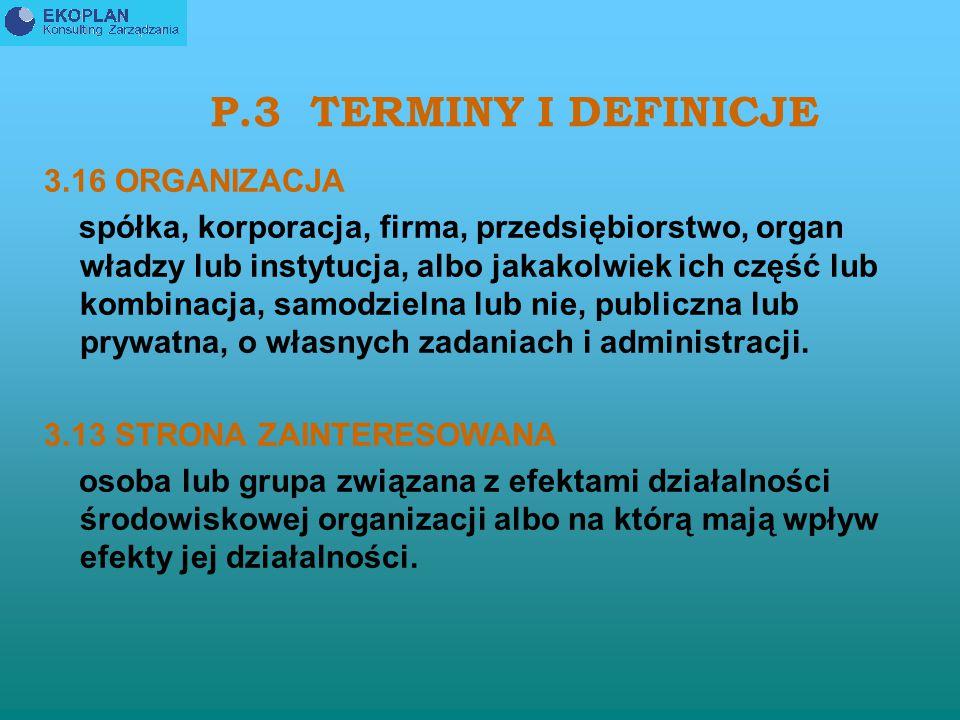 P.3 TERMINY I DEFINICJE 3.16 ORGANIZACJA