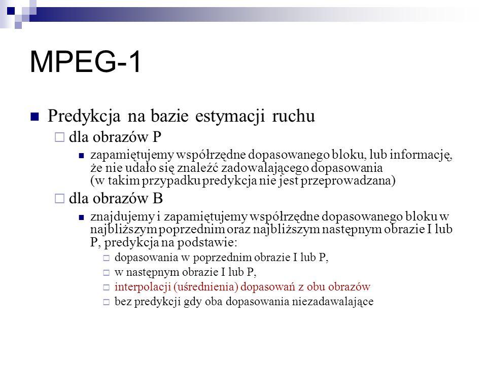 MPEG-1 Predykcja na bazie estymacji ruchu dla obrazów P dla obrazów B