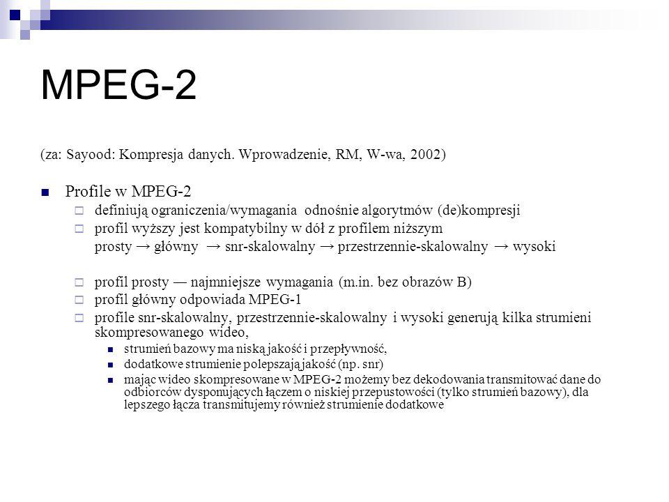 MPEG-2 (za: Sayood: Kompresja danych. Wprowadzenie, RM, W-wa, 2002) Profile w MPEG-2.