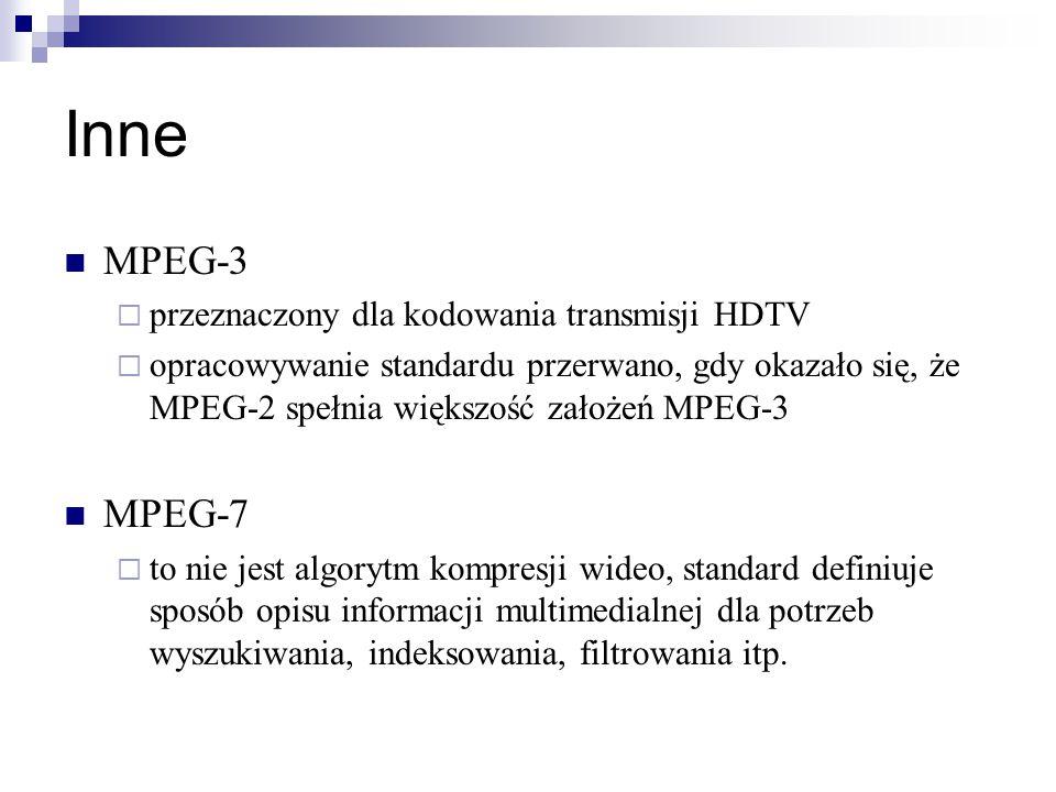 Inne MPEG-3 MPEG-7 przeznaczony dla kodowania transmisji HDTV