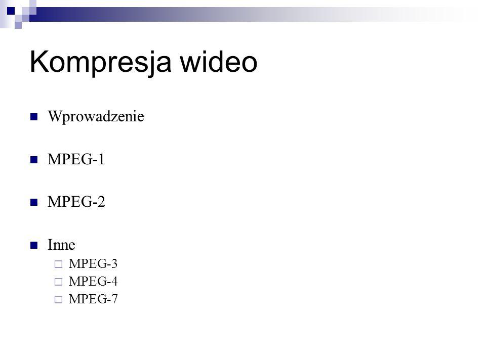 Kompresja wideo Wprowadzenie MPEG-1 MPEG-2 Inne MPEG-3 MPEG-4 MPEG-7