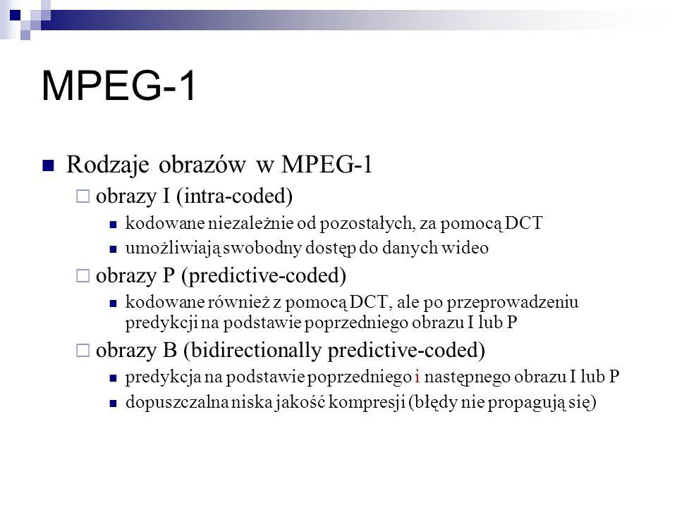 MPEG-1 Rodzaje obrazów w MPEG-1 obrazy I (intra-coded)