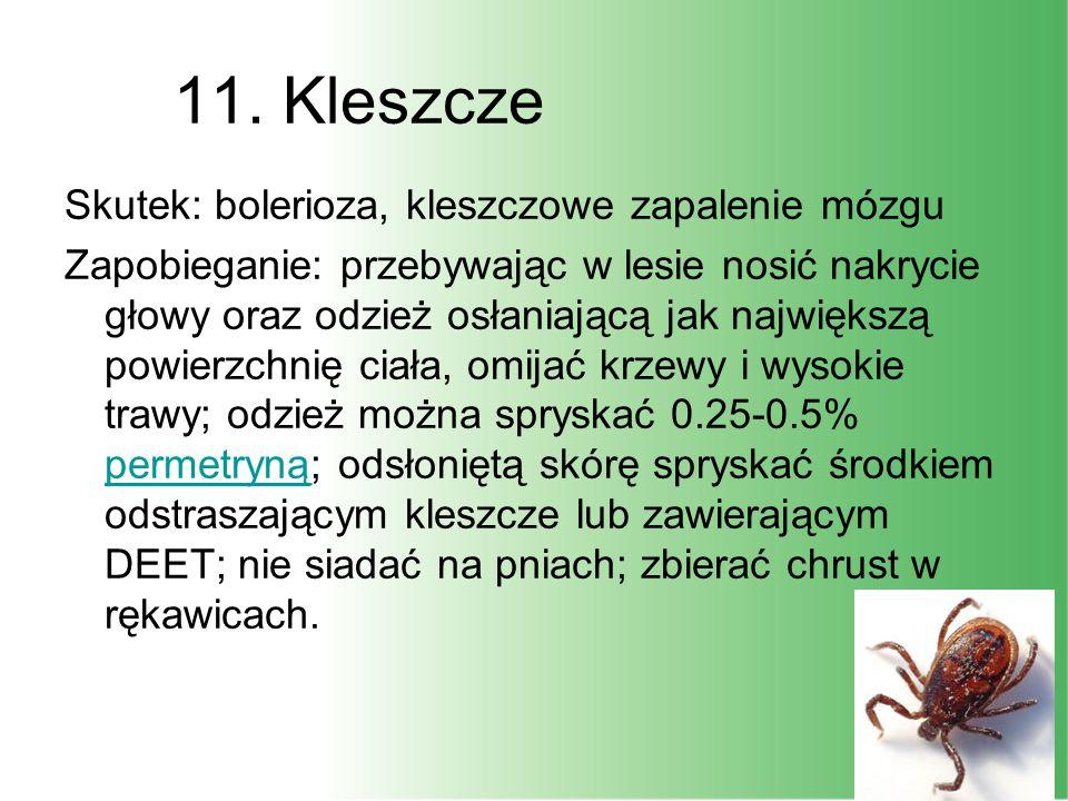 11. Kleszcze Skutek: bolerioza, kleszczowe zapalenie mózgu