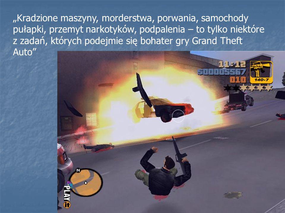 """""""Kradzione maszyny, morderstwa, porwania, samochody pułapki, przemyt narkotyków, podpalenia – to tylko niektóre z zadań, których podejmie się bohater gry Grand Theft Auto"""