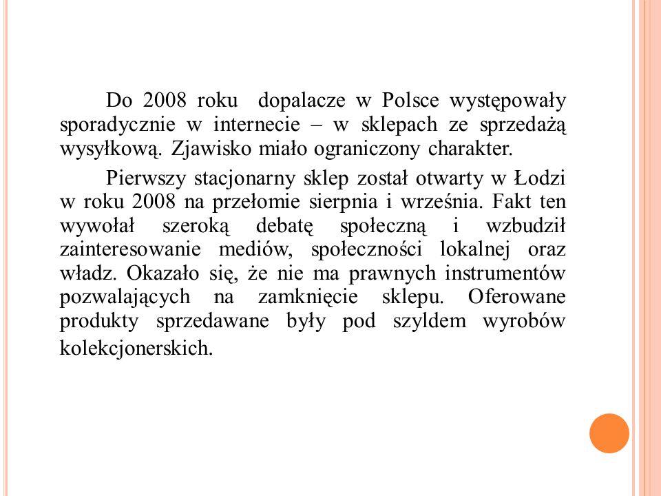 Do 2008 roku dopalacze w Polsce występowały sporadycznie w internecie – w sklepach ze sprzedażą wysyłkową. Zjawisko miało ograniczony charakter.