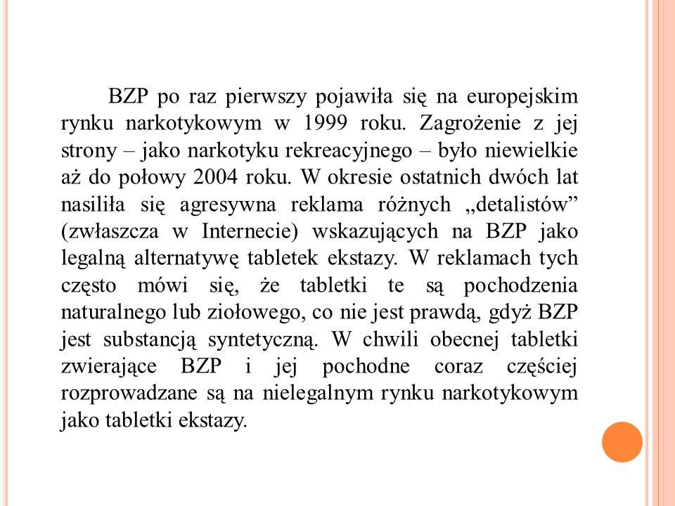 BZP po raz pierwszy pojawiła się na europejskim rynku narkotykowym w 1999 roku.