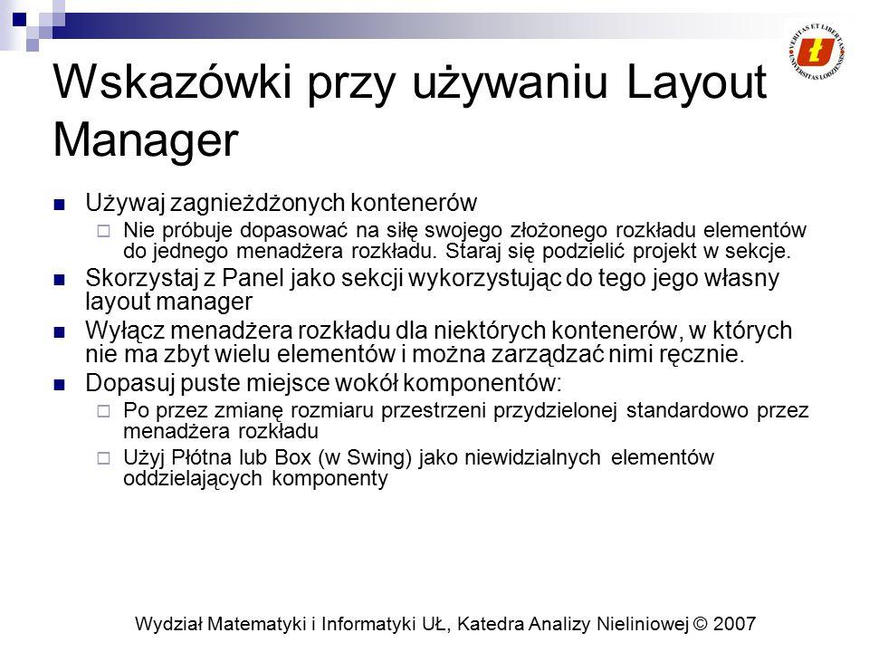 Wskazówki przy używaniu Layout Manager