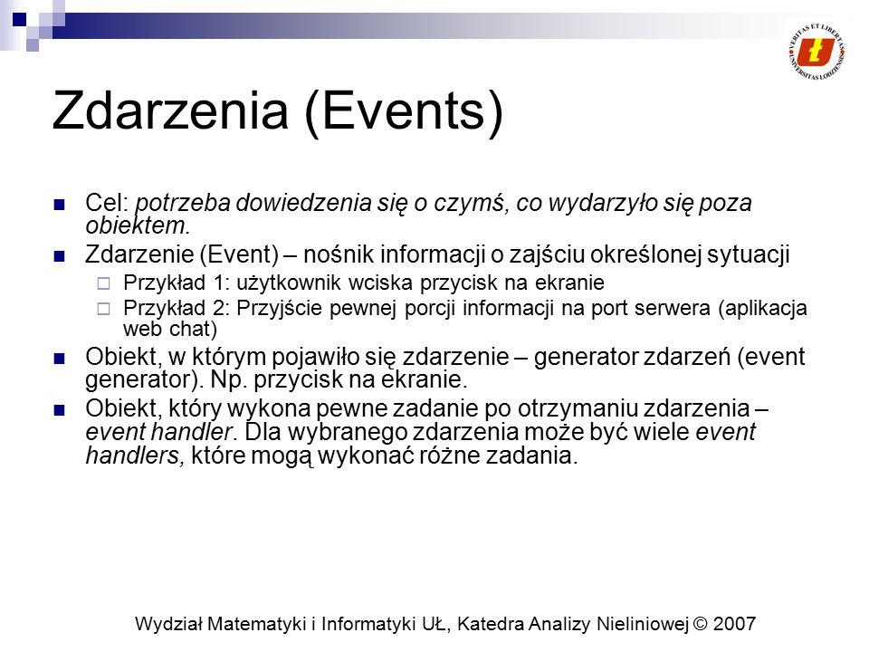 Zdarzenia (Events) Cel: potrzeba dowiedzenia się o czymś, co wydarzyło się poza obiektem.