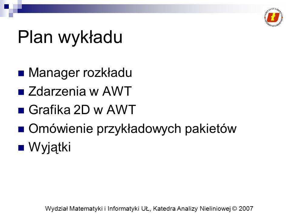 Plan wykładu Manager rozkładu Zdarzenia w AWT Grafika 2D w AWT