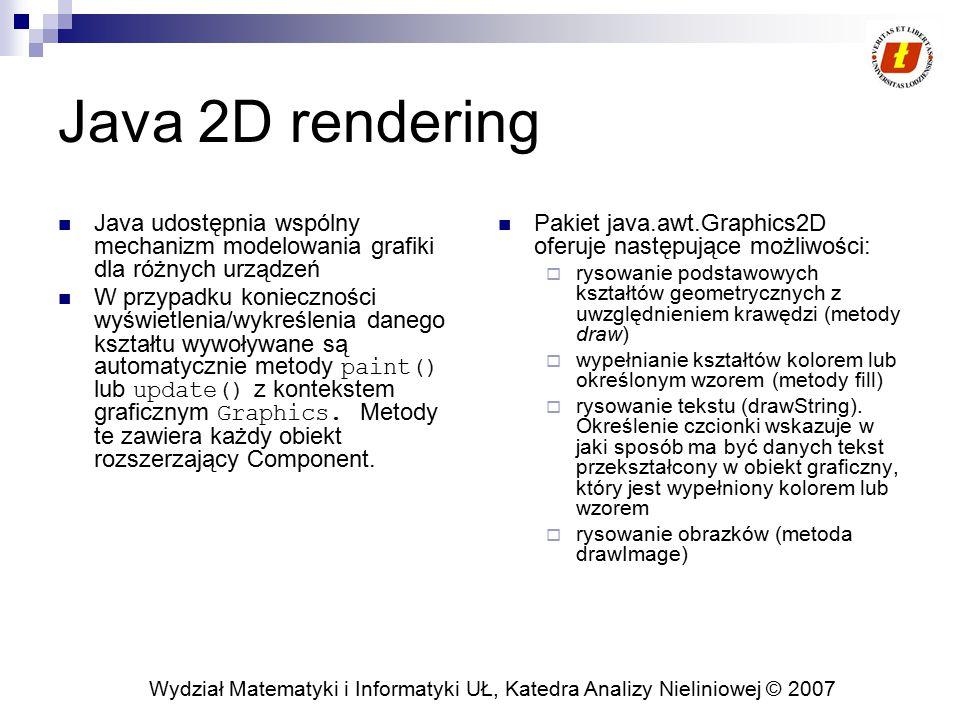 Java 2D rendering Java udostępnia wspólny mechanizm modelowania grafiki dla różnych urządzeń.