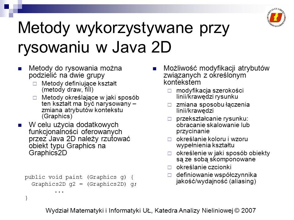 Metody wykorzystywane przy rysowaniu w Java 2D