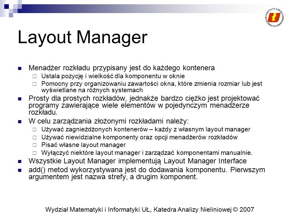 Layout Manager Menadżer rozkładu przypisany jest do każdego kontenera