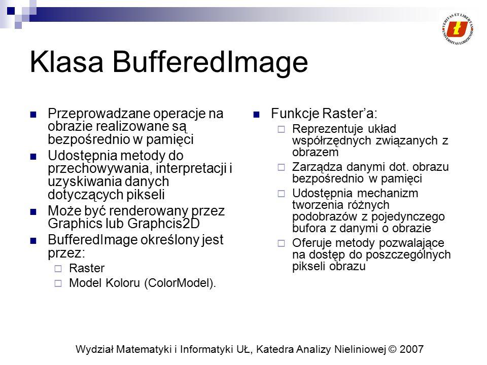 Klasa BufferedImage Przeprowadzane operacje na obrazie realizowane są bezpośrednio w pamięci.