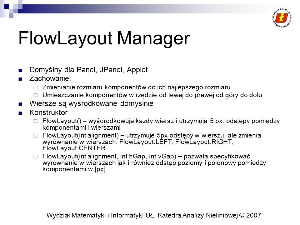 FlowLayout Manager Domyśłny dla Panel, JPanel, Applet Zachowanie: