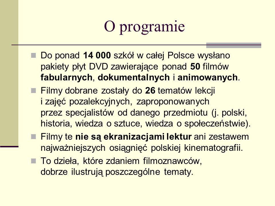 O programie Do ponad 14 000 szkół w całej Polsce wysłano pakiety płyt DVD zawierające ponad 50 filmów fabularnych, dokumentalnych i animowanych.