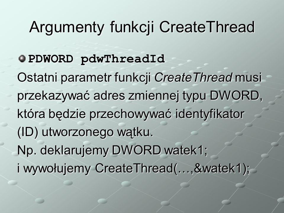 Argumenty funkcji CreateThread