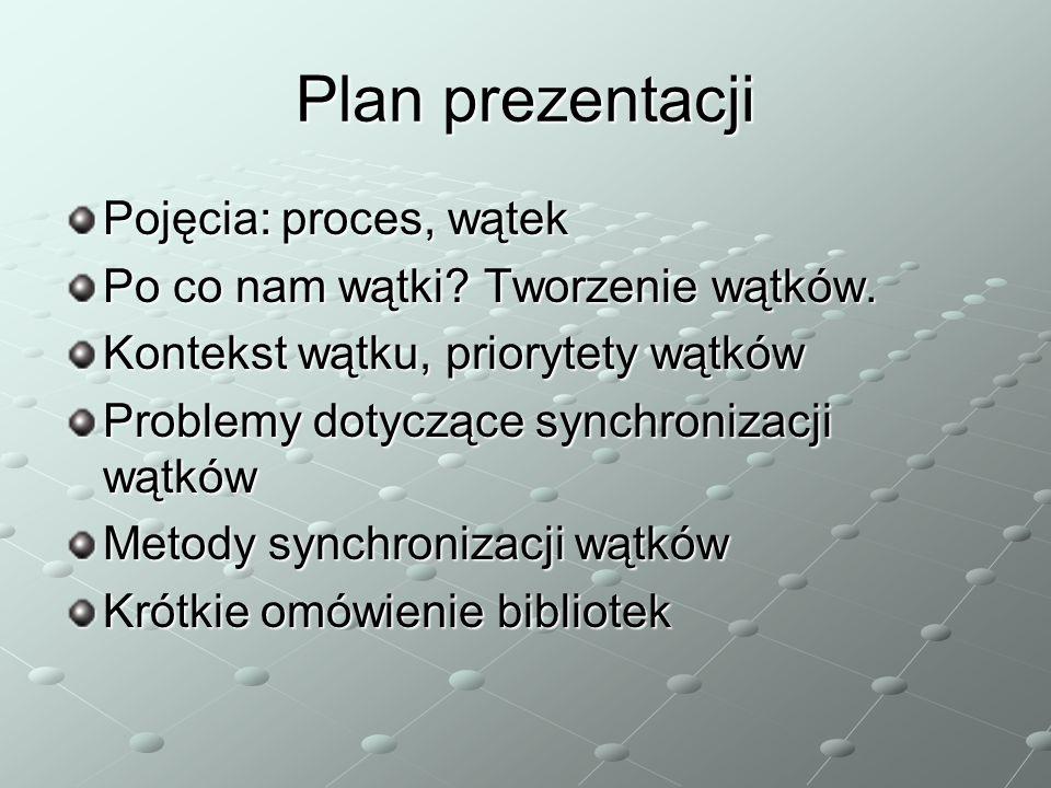 Plan prezentacji Pojęcia: proces, wątek