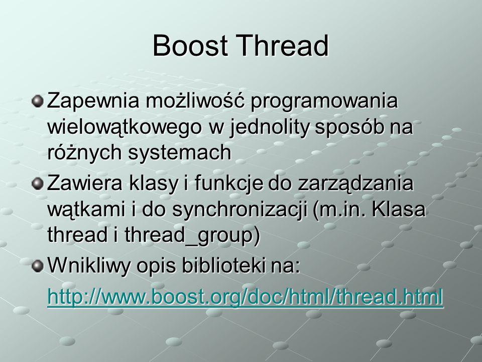 Boost Thread Zapewnia możliwość programowania wielowątkowego w jednolity sposób na różnych systemach.