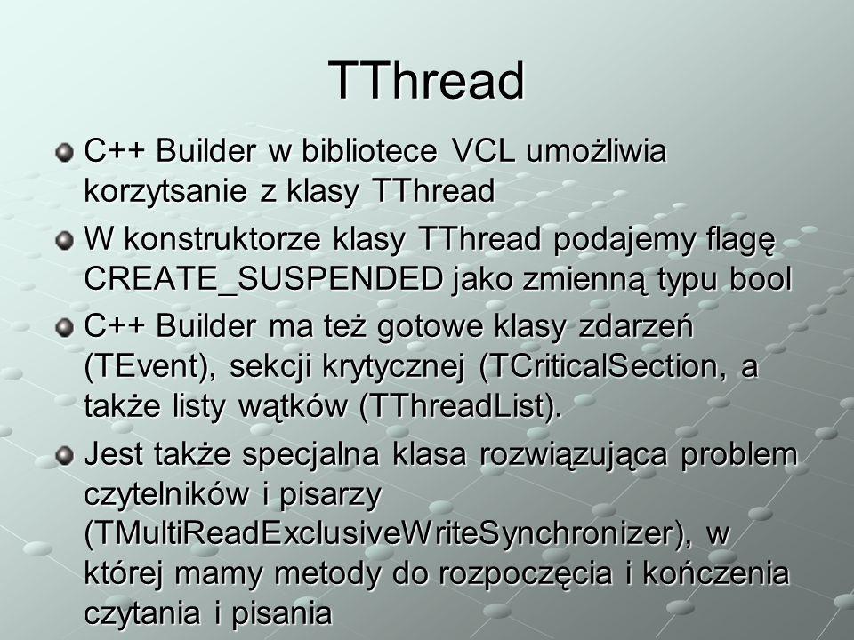 TThread C++ Builder w bibliotece VCL umożliwia korzytsanie z klasy TThread.