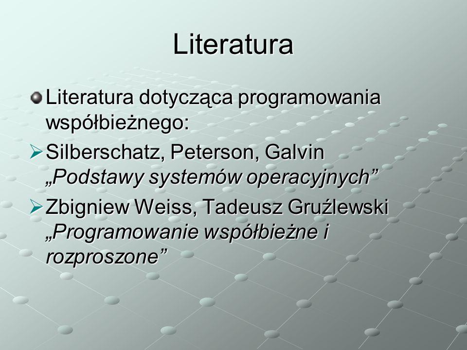 Literatura Literatura dotycząca programowania współbieżnego: