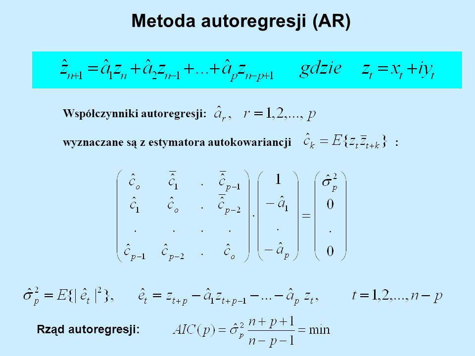 Metoda autoregresji (AR)