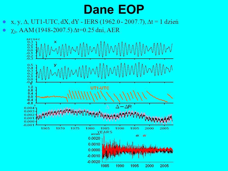 Dane EOP x, y, Δ, UT1-UTC, dX, dY - IERS (1962.0 - 2007.7), Δt = 1 dzień.