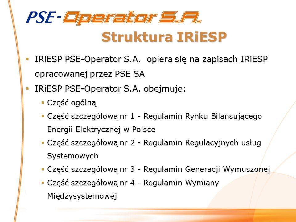 IRiESP PSE-Operator S.A. obejmuje: