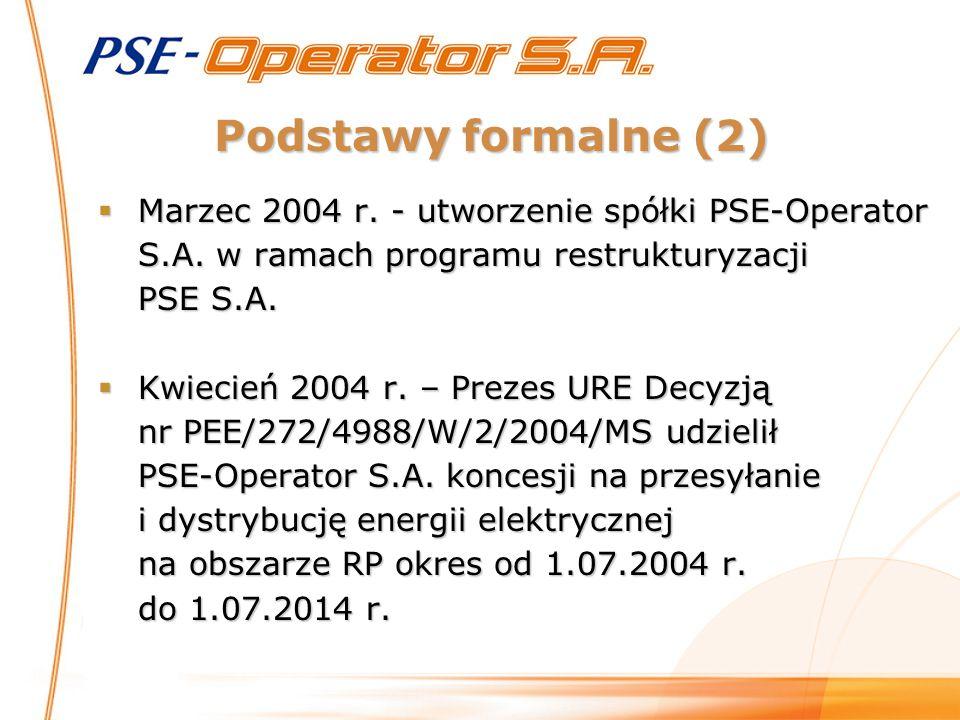 Podstawy formalne (2) Marzec 2004 r. - utworzenie spółki PSE-Operator S.A. w ramach programu restrukturyzacji PSE S.A.