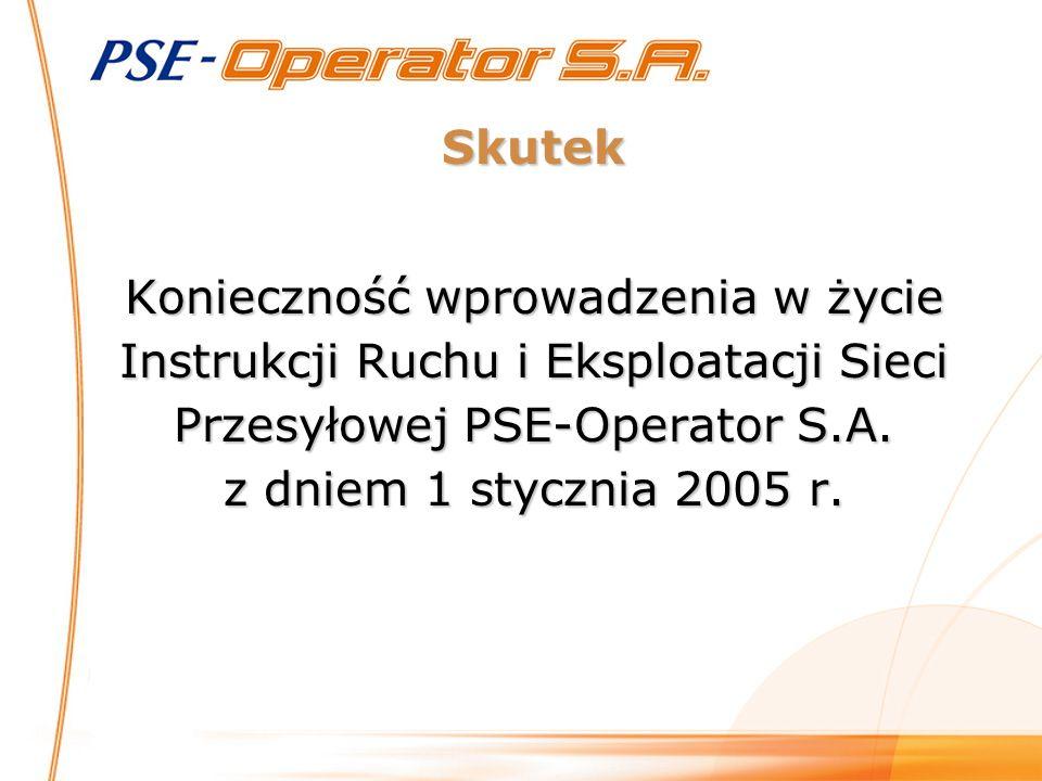 Skutek Konieczność wprowadzenia w życie Instrukcji Ruchu i Eksploatacji Sieci Przesyłowej PSE-Operator S.A.