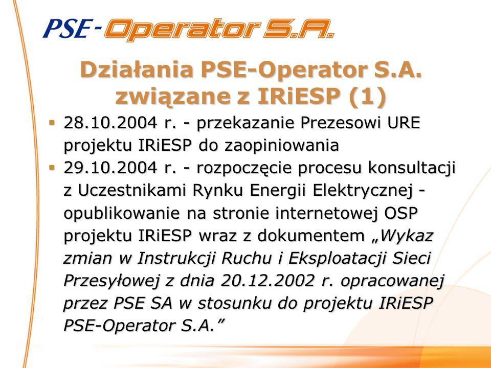 Działania PSE-Operator S.A. związane z IRiESP (1)