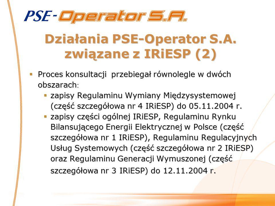Działania PSE-Operator S.A. związane z IRiESP (2)