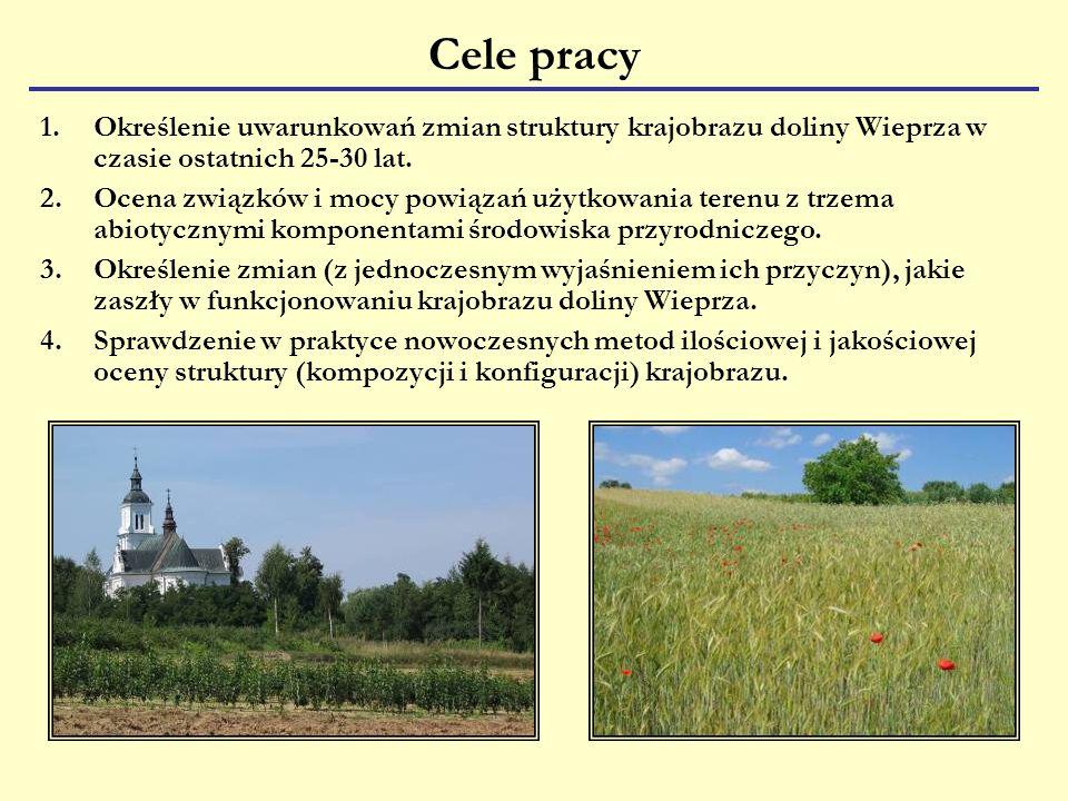 Cele pracy Określenie uwarunkowań zmian struktury krajobrazu doliny Wieprza w czasie ostatnich 25-30 lat.