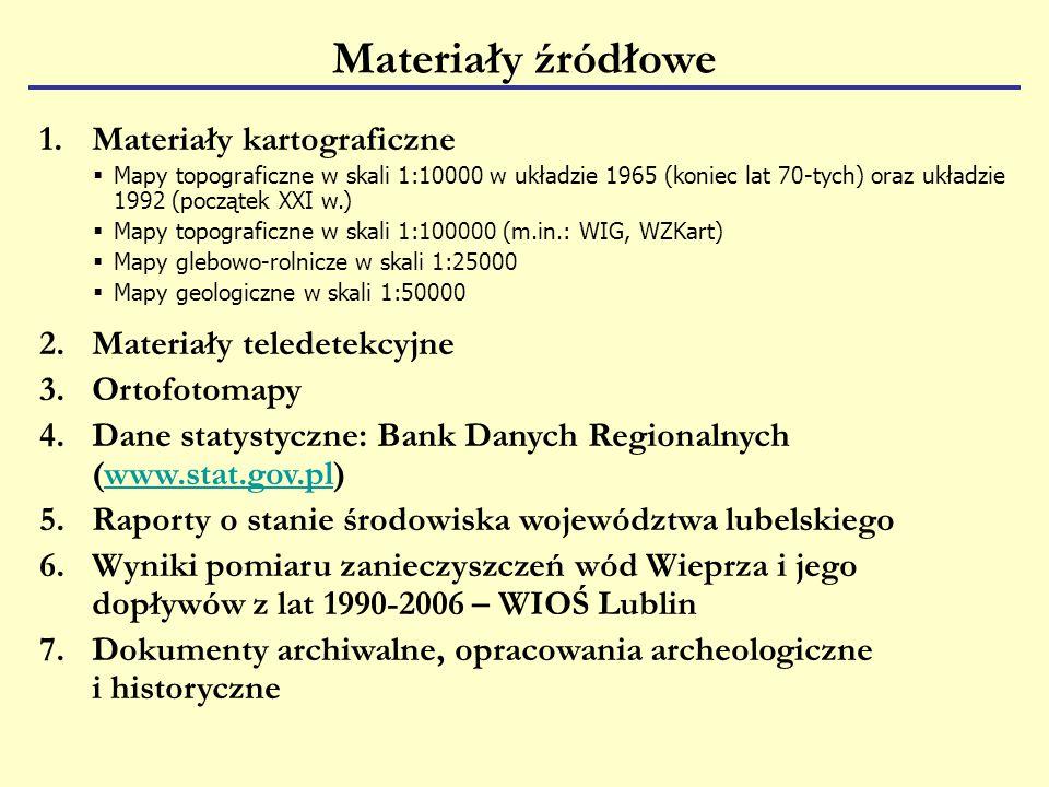 Materiały źródłowe Materiały kartograficzne Materiały teledetekcyjne