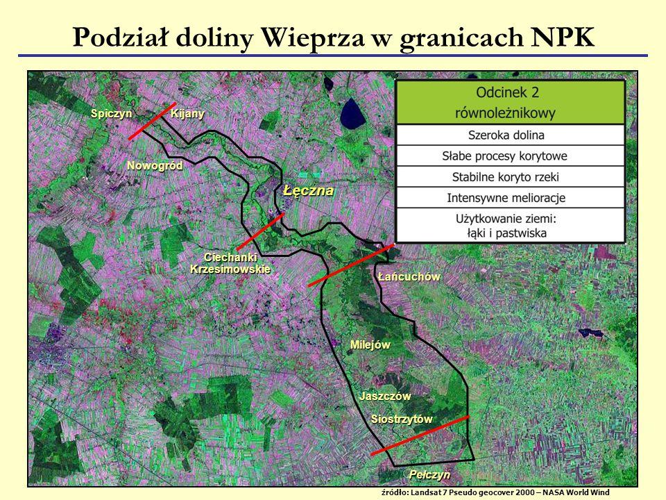 Podział doliny Wieprza w granicach NPK