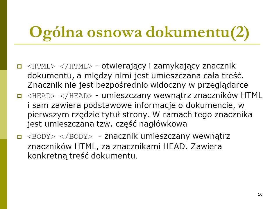 Ogólna osnowa dokumentu(2)