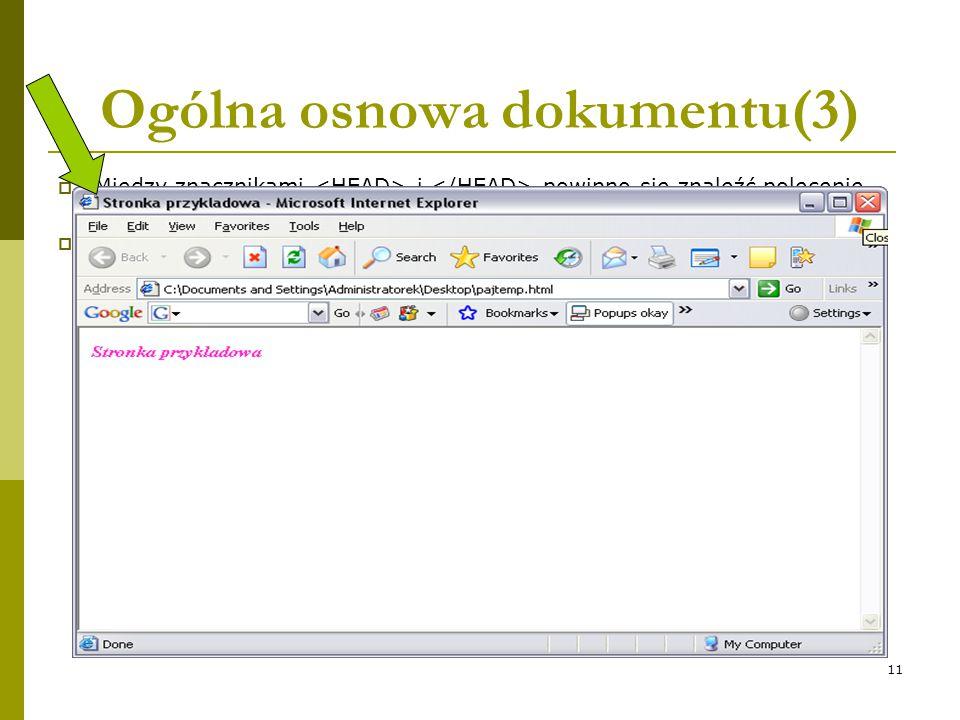 Ogólna osnowa dokumentu(3)