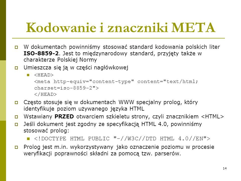 Kodowanie i znaczniki META