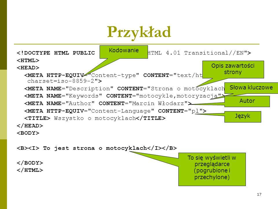 Przykład Kodowanie. <!DOCTYPE HTML PUBLIC -//W3C//DTD HTML 4.01 Transitional//EN > <HTML> <HEAD>