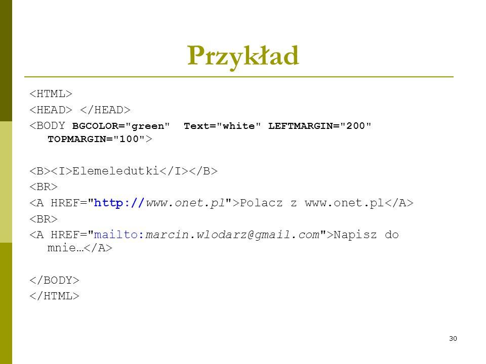 Przykład <HTML> <HEAD> </HEAD>