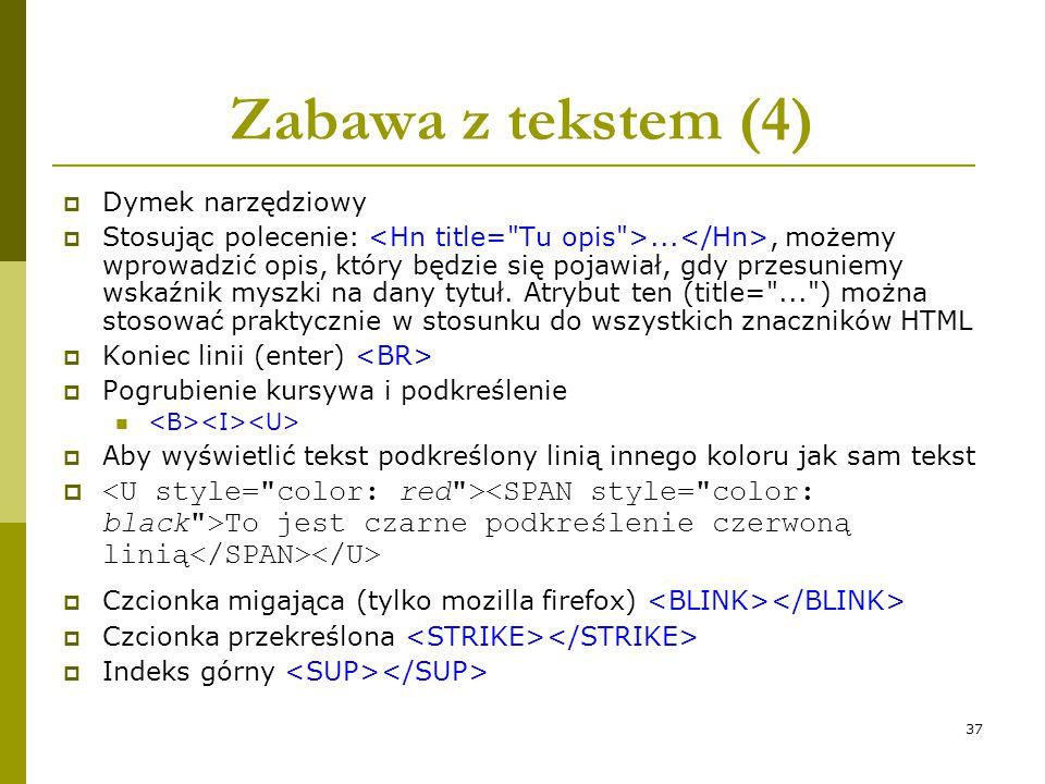 Zabawa z tekstem (4) Dymek narzędziowy.