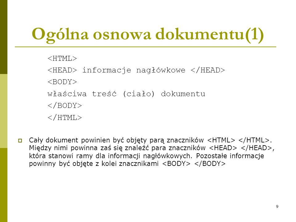 Ogólna osnowa dokumentu(1)