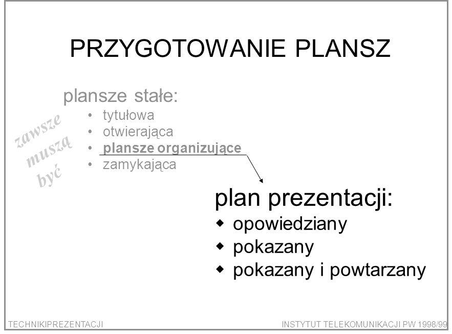 PRZYGOTOWANIE PLANSZ plan prezentacji: plansze stałe: zawsze muszą być