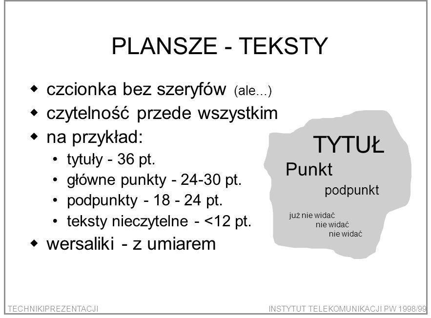 PLANSZE - TEKSTY TYTUŁ czcionka bez szeryfów (ale...)